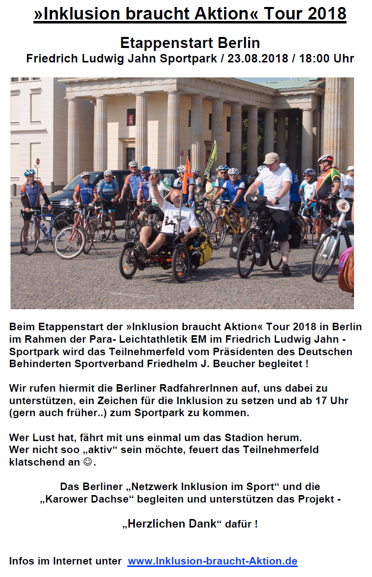 Etappenstart in Berlin am 23.08.2018