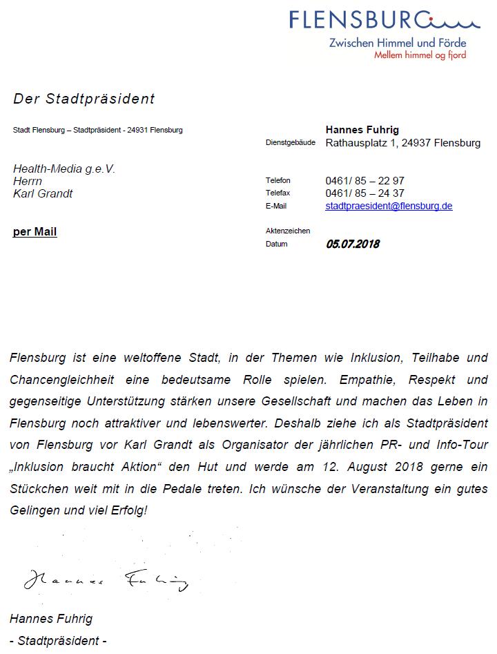 Stadtpräsident Hannes Fuhrig, Flensburg